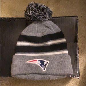 Patriots winter hat grey , black, and white.